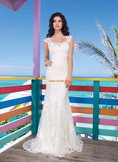 Traîne moyenne Sans manches Naturel Robes de mariée pas cher