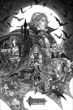 Artist and illustrator Nicolas Delort created this official Castlevania: Symphony of the Night art print. He created this illustration with ink on scratchboard and translated that to a screen print. Castlevania Netflix, Castlevania Anime, Dracula, Teen Titans, Nicolas Delort, Castlevania Wallpaper, Gothic Setting, Castle Tattoo, Chibi
