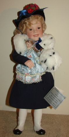 DANBURRY MINT - SHIRLEY TEMPLE 75TH BIRTHDAY PORCELAIN DOLL - COA INCLUDED