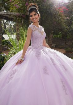 Lavender quinceanera dresses - Vizcaya by Mori Lee 60092 Beaded Lace Illusion Neckline Tulle Gown – Lavender quinceanera dresses Sweet 15 Dresses, Pretty Dresses, Beautiful Dresses, Xv Dresses, Ball Gown Dresses, Prom Dresses, Sparkly Dresses, Chiffon Dresses, Fall Dresses