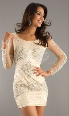 Luxurious Boat-neck Long Sleeves Short Homecoming Dresses with Beading.$259.99
