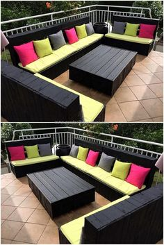 Design your balcony or terrace in elegant style by re-claiming wood pallets. We have crafted excellent black colored sofa to decor outdoor area marvelously. This creatively crafted wood pallet furniture sofa provides exceptional sitting style for your out Pallet Furniture Sofa, Diy Pallet Sofa, Diy Garden Furniture, Diy Outdoor Furniture, Diy Pallet Projects, Pallet Bench, Pallet Couch Outdoor, Pallet Sectional, Palette Furniture