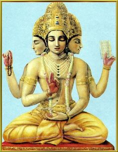 Lord Brahma, who is in charge of secondary creations. One Brahma appears per universe, and his number of heads is an indication of the size of the universe created.