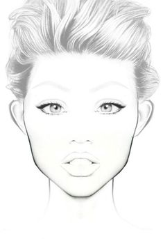 blank female face template - photo #23