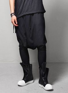 Dark Incense Tapered Harem Low Crotch Trousers $50.40  #men #fashion #style #street #lowcrotch #trousers #pants #black