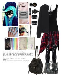 """""""Knives and Pens//Black Veil Brides"""" by kittenjade ❤ liked on Polyvore featuring WithChic, Twenty, NARS Cosmetics, Plukka, Gucci, Visconti, cutekawaii and Urbanears"""