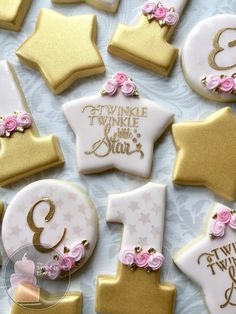 Twinkle Twinkle Little Star elegant first birthday cookies - One Dozen Decorated Sugar Cookies First Birthday Cookies, Birthday Star, Baby Girl 1st Birthday, Girl Birthday Themes, Baby Girl Birthday, First Birthday Parties, Birthday Ideas, Elegant Birthday Party, Twinkle Twinkle Little Star Birthday