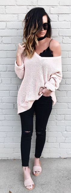 #spring #outfits Blush Knit & Black Ripped Skinny Jeans #blackrippedjean