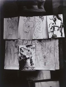 Picasso's Atelier des Grands Augustins, Drawings before the Great Stove, ca 1943, Brassai.