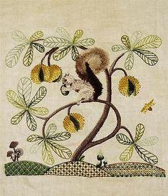 Jacobean-Floral-Squirrel-Finished-Kit-Vintage-Elsa-Williams-Crewel-Embroidery