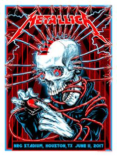 Metallica Houston Poster By Kyler Sharp Release Metallica Cover, Metallica Art, Hard Rock, Heavy Metal Art, Heavy Metal Bands, Music Artwork, Metal Artwork, Art Music, Tour Posters