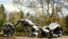 Featured at Oddmall Seattle. Motorcycle made completely from spoons! Spoon art by James Rice