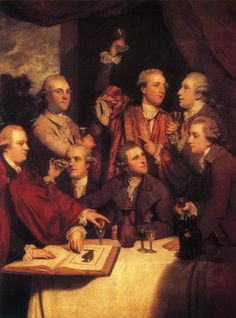 The Dilettanti Society, 1777, Joshua Reynolds. In 1734, a group of young British gentlemen, all alumni of the Grand Tour in Italy, formed a dining club in London. Calling themselves the Society of Dilettanti (from the Italian dilettare, to take delight), this close-knit association transformed classical antiquity from a private pleasure to a public benefit by sponsoring archaeological expeditions, forming collections, and publishing influential books on ancient architecture and sculpture.