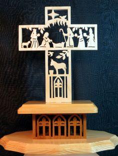 Nativity Story Cross  Scroll Saw Art  Poplar  by susanandlarry, $35.00