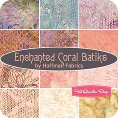 FEBRUARY 12---Enchanted Coral Batiks Fat Quarter Bundle  Hoffman Fabrics