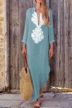 Boho Cotton-Line Loose Dress #boho #BohoDress #CottonDress #LinenDress #LooseDress