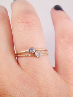 14 Stone Options 10k Gold Hammered Band Birthstone by LieselLove