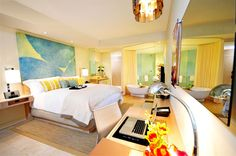 http://www.trumphotelcollection.com  Brightly colored guest rooms at Trump Panama