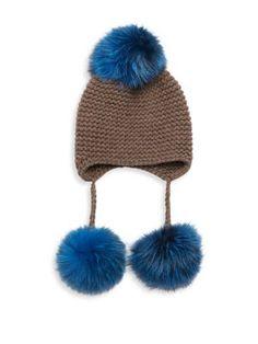 24398756113 INVERNI Triple Pom Knit Cashmere   Fox Fur Beanie.  inverni  beanie
