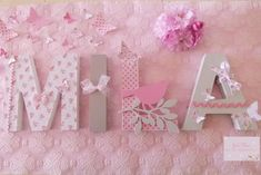 Etsy - Shop for handmade, vintage, custom, and unique gifts for everyone Paper Mache Letters, Wood Letters, Girl Room, Baby Room, Bebe Shower, Quilling Paper Craft, Princess Room, Baby Shower Decorations, Nursery