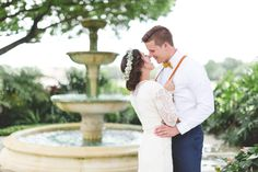 Boho bride and groom in front of vintage fountain in the Legends Courtyard at Mission Inn Resort Outside Orlando, Florida. Free Wedding, Hotel Wedding, Wedding Tips, Boho Wedding, Wedding Ceremony, Wedding Venues, Happy Studio, Mission Inn, Wedding Memorial