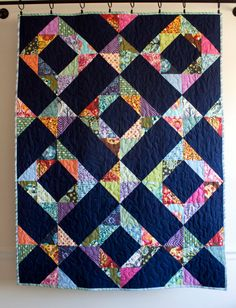 modern throw quilt // toddler bed quilt // rough gem quilt in tula pink fabrics // ready to ship