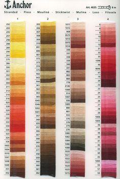 Se desideri cambiare i colori presenti nella legenda degli schemi di ricamo, ti occorrerà consultare la tabella Colori dei Filati DMC o ANCORA che ti permetterà di visionare il colore desiderato con il relativo codice.