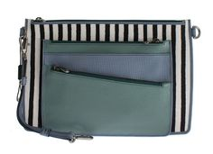 White Blue Striped Leather Shoulder Messenger Bag