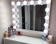Items similar to Hollywood lighted vanity mirror-large makeup mirror with lights-Perfect for IKEA MALM vanity -BULBS not included / Us-Eu-Uk plugs available on Etsy Hollywood Lighted Vanity Mirror, Diy Vanity Mirror, Hollywood Lights, Vanity Decor, Hollywood Style, Vanity For Makeup, Diy Makeup, Ikea Makeup, Vanity Chairs