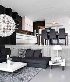 As it's black and white, it may fit in nearly every room. Designing your living room elegantly is one of the fantastic ideas. Always new and advanced, the black white living room is just one of the ideal choices for… Continue Reading → Sunken Living Room, Home Living Room, Living Room Decor, Living Spaces, Black And White Living Room, Black White, Salons Cosy, Piece A Vivre, White Houses
