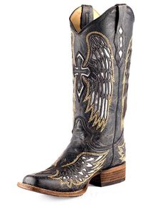Women's Distressed Black Winged Cross Silver Inlay Boot - A1986
