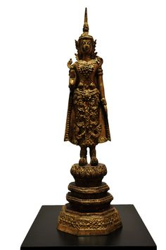 Standing Buddha with Crown. Thailand, bronze, late 19th century. For more information about this and other amazing antique products, visit our website: www.sat-nam-art.com Standing Buddha, 19th Century, Thailand, Table Lamp, Bronze, Crown, Website, Antiques, Amazing