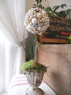Topiary with vintage pins
