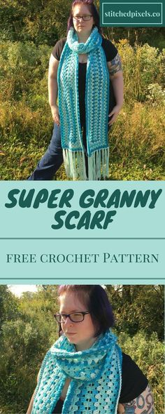 Free crochet pattern - Keep warm and cozy this winter with the Super Granny Scarf. Not into super scarves? That's okay! With easy instructions, you can customize it to any length you desire.