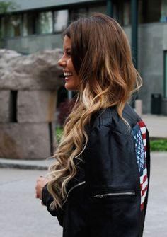 Hair. ombre. brown. blonde. long hair. waves. curls.