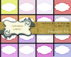 Chevrons labels in 45 colors, digital labels, digital tags JPGs Customize Your Colors di TeoldDesign su Etsy https://www.etsy.com/it/listing/219252925/chevrons-labels-in-45-colors-digital  Stop by my Etsy Shop: www.etsy.com/shop/TeoldDesign