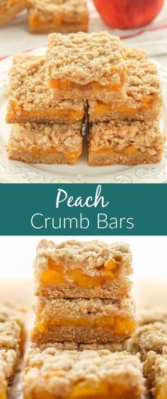 These Peach Crumb Bars use the same buttery crumb mixture for the crust and topping and are filled with an easy peach filling! These Peach Crumb Bars use the same buttery crumb mixture for the crust and topping and are filled with an easy peach filling! Fruit Recipes, Sweet Recipes, Baking Recipes, Cookie Recipes, Dessert Recipes, Peach Recipes Easy, Peach Recipes Breakfast, Recipes With Peaches, Recipies