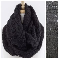 "B76 Zig Zag Bubble Texture Black Infinity Scarf Bubble Zig Zag Texture Scarf ‼️ PRICE FIRM UNLESS BUNDLED WITH OTHER ITEMS FROM MY CLOSET ‼️  Retail $59  Super fun!  Soft & warm.  100% acrylic. Bubble & zig zag pattern. 14"" wide, 28"" long.  Please check my closet for many more items. Boutique Accessories Scarves & Wraps"