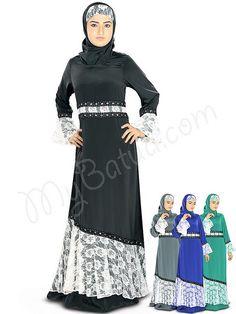 Beautiful Flower Net Black Party Wear Shukrah Abaya|MyBatua.com Style No : AY-331 Price : $52.80 Available Sizes XS to 7XL