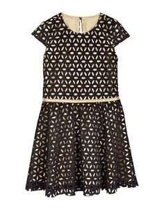 Petit Lem Girls 2-6x Holiday Laser Cut Scuba Dress  Black 2