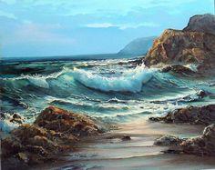 Marina Oil - dibujos y pinturas - Kunst Watercolor Landscape, Landscape Art, Landscape Paintings, Ocean Art, Ocean Waves, Seascape Paintings, Watercolor Paintings, Art Paintings, Ocean Scenes