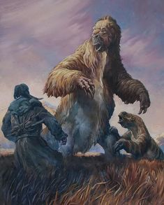 Clovis woman surprising the giant ground sloth Eremotherium, ready to to use her long claws protect her frightened baby. Eremotherium lived from million years to years ago during the Pleistocene epoch. Prehistoric Wildlife, Prehistoric World, Prehistoric Creatures, Dinosaur Fossils, Dinosaur Art, Dinosaur Crafts, Vida Animal, Extinct Animals, Jurassic Park
