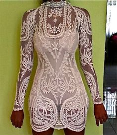 Custom Embroidery lace ivory black sheer long sleeve chic sexy dress- would be great with an overlay skirt