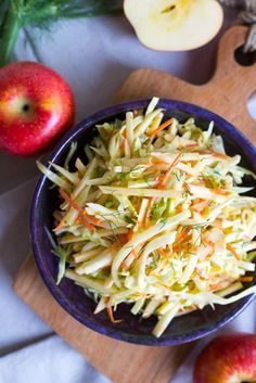 Crisp and refreshing Fennel and Apple Coleslaw!  Perfect for a side dish or to top your sandwiches and tacos with! {vegan, gluten free}