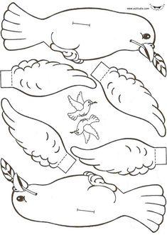 Noah's Ark: Dove craft, Armar paloma, Shalom!