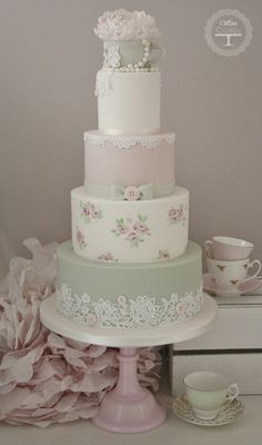 https://flic.kr/p/gRgf3u | Tea Cup Wedding Cake | Another new design, have had this in mind for ages but only just got chance to finish it x