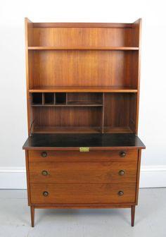 1960u0027s Danish Teak Bookcase Desk 2