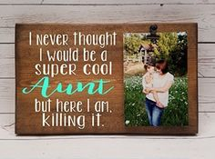 Super Cool Aunt, killing it! clip frame. Photo board, wood picture frame, photo holder with clip, uncle, grandma, grandpa, nana, memaw, papa ** Visit the image link more details. (This is an affiliate link) #PictureFrames