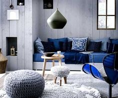 This room is monochromatic because it uses slate blue and navy blue together to create a new look.
