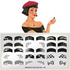 Frenchy Plate Collection 03    moyou.co.uk | info@moyoumarketing.com #nailart #moyoulondon #stamping #pinup #manicure #manicura #french #frenchmanicure #bigote #cute #kawaii #girly #frenchy